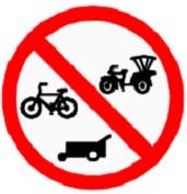 ป้ายห้ามรถจักรยาน รถสามล้อ และรถจักรยานยนต์ (บ.25)